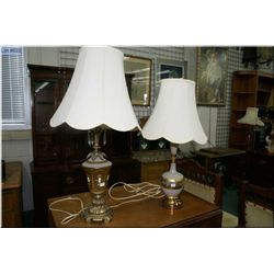 Two vintage table lamps on cast bases