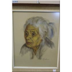 "A framed original pastel portrait of an elderly lady signed M. Nicholson 19"" X 16"""
