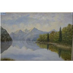 """Unframed oil on canvas painting of a lake scene signed by artist d. Girouard 36"""" x 24'"""