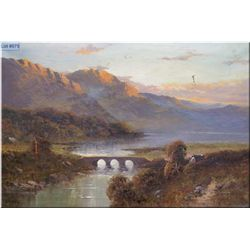 An antique gilt framed oil on canvas painting featuring a bridge and mountain scape signed by artist