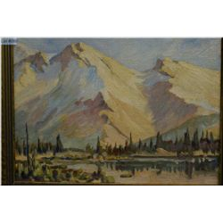 """A framed oil on board painting of a mountain scene by J. Gordon Sinclair 15"""" X 11"""""""