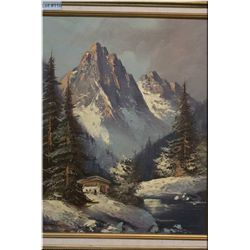 """A gilt framed oil on canvas painting """"Autumn in the Swiss Alps"""" signed by Ronaldo 20"""" X 15 1/2"""""""