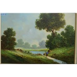 "A framed oil on canvas painting ""Summer Day in Northern Italy"" signed by artist Raymond Defaenzo 26"