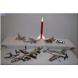 A selection of model airplanes and a rocket
