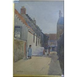 "A gilt framed watercolour of a street scene signed by artist Luku Eurny (?) 14"" X 10"""