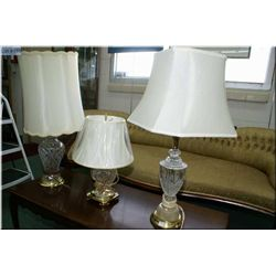 Three table lamps, all with crystal lamp bases