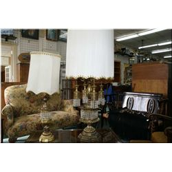 Two cast table lamps with hanging lustres