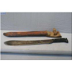 A machete with leather sheath