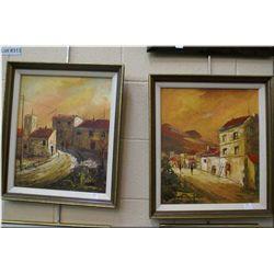 "Two framed oil on board paintings of South American street scenes by artist Hernardry (?) 14"" x 13"""