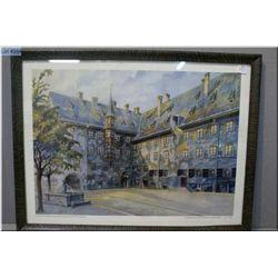 """A framed print of a Watercolour """"Der Hof der Alten Residenz in Munchen"""" done in 1914 by Aldoph Hilte"""