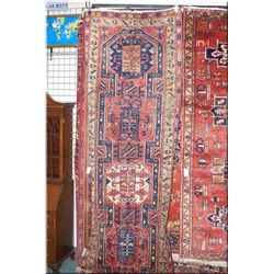 A Azarbijan wool runner with geometric designs and double border in shades of salmon, cream and navy