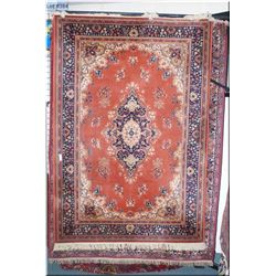 Wool area rug with large center medallion, triple border in shades of burnt orange, navy and cream 6
