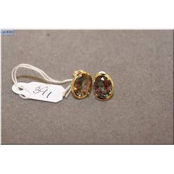 Lady's 14kt yellow gold and mystic topaz earrings