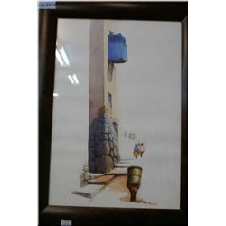 """Framed watercolour featuring architectural building design detail signed by artist 19"""" X 13"""""""