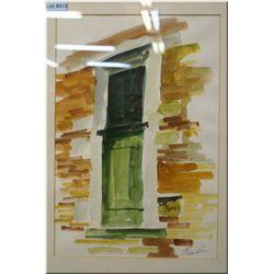 "A framed watercolour of a window in a brick wall signed by artist Harry Defoe (?) 15"" X 19"""