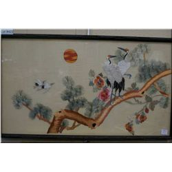 Two framed silk embroidered Japanese crane pictures in bamboo motif frames