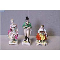 Three vintage Dresden porcelain figurines