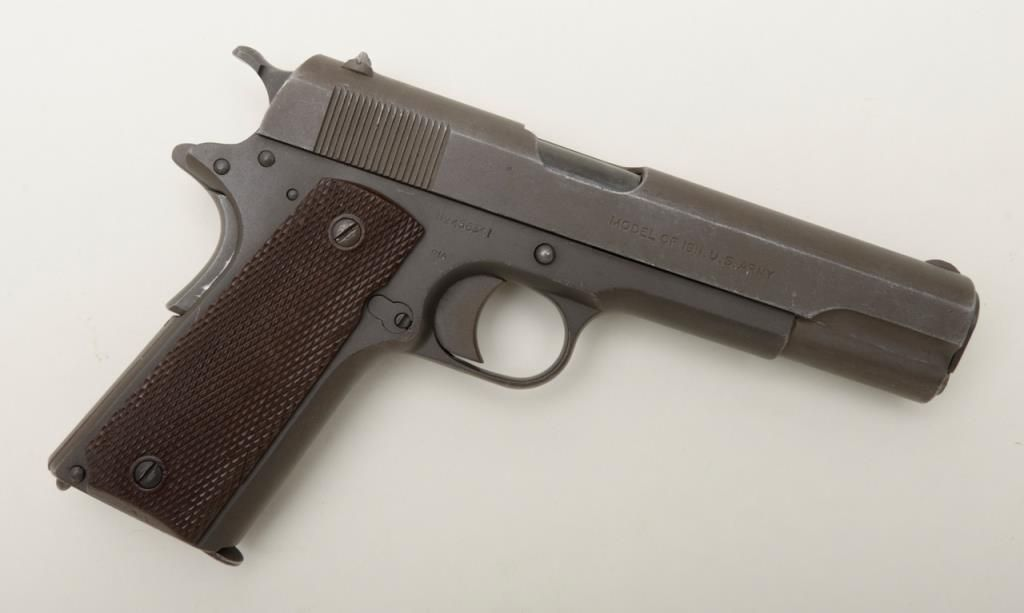 Colt 1911 U S  property marked Arsenal rebuilt and parkerized for World War  II, serial number 456341