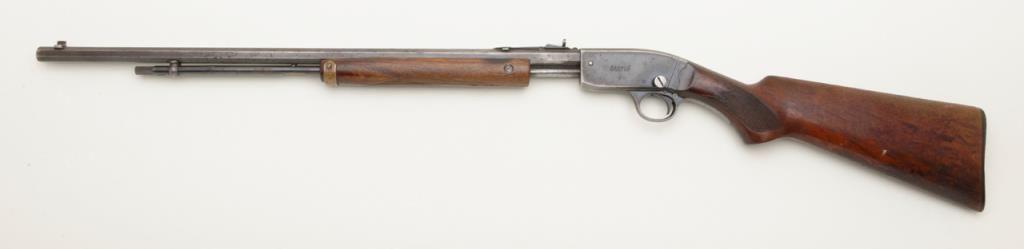 "Savage Model 29 pump action rifle,  22 short, long or LR cal , 24"" octagon  barrel, blue finish, wood"