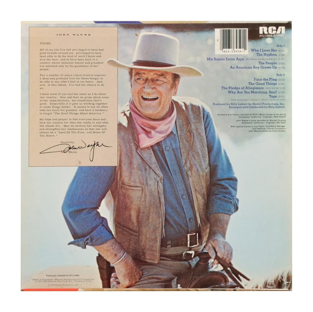 "John Wayne ""America, Why I Love Her"" LP record with cover, 1973  Est :  $50-$100"