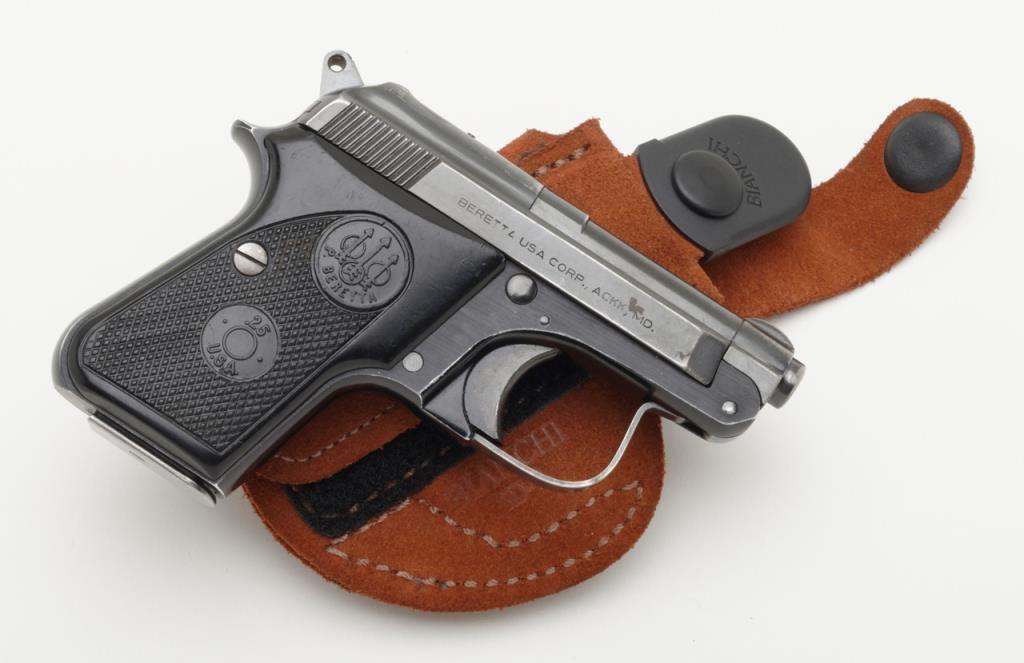 Beretta Model 950 BS,  25 ACP caliber semi-automatic pistol, serial number  BT17566  The pistol remai