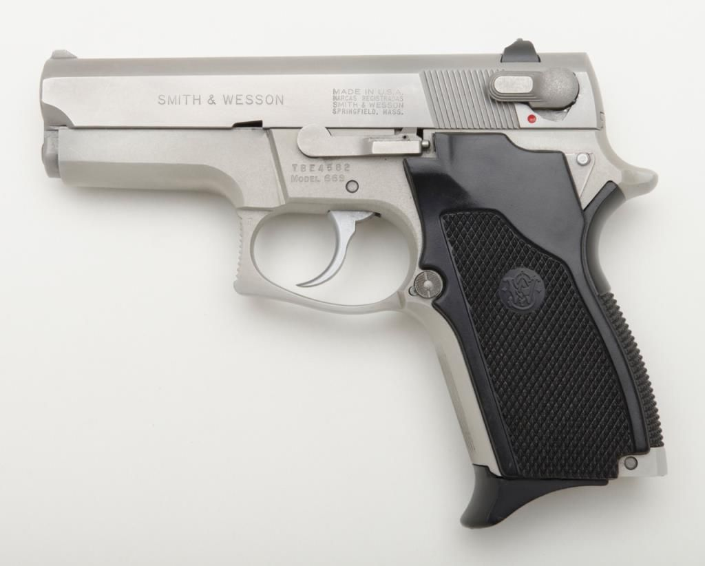 Smith & Wesson Model 689, double action 9 mm compact auto with brushed  satin chrome finish, composit