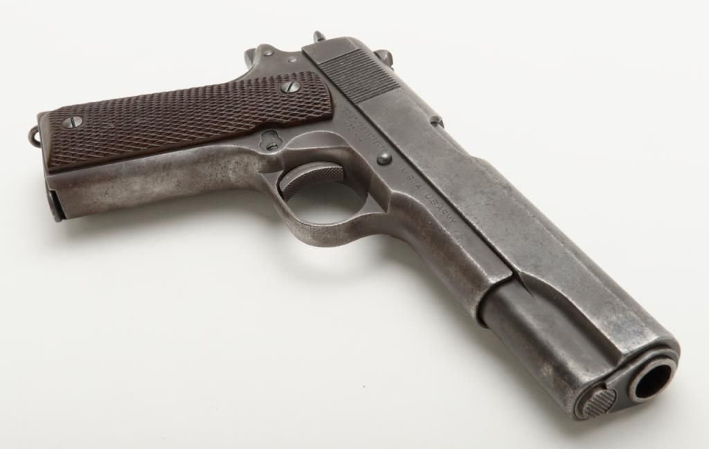 Colt 1911-A1 U S  early issue  45 ACP caliber pistol in good condition,  serial number 757461  The Co