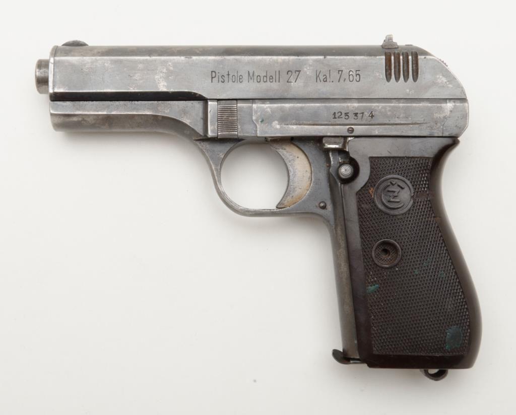 "CZ Model 27 semi-auto pistol, 7 65mm cal , 3-3/4"" barrel, blue finish,  checkered plastic grips, #125"