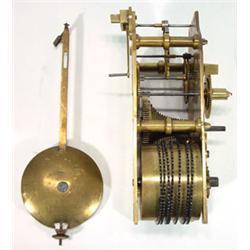 Brass single fusee clock movement with a pendulum…
