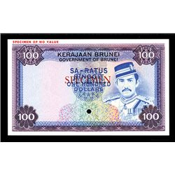 Government of Brunei, ND (1972-88) Specimen Banknote.