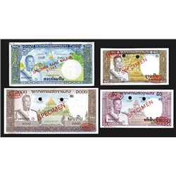 Banque Nationale Du Laos, ND (1963) Specimen Issue Quartet.