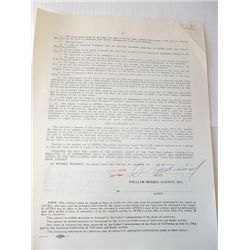 Clint Eastwood 1973 William Morris Agency Signed Contract
