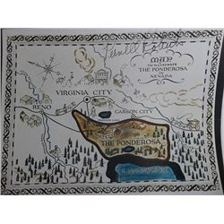 Pernell Roberts  Bonanza  Signed 11x14 'Ponderosa' Map Photo