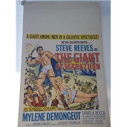 "Steve Reeves Signed ""Hercules The Giant of Marathon"" Original Window Card"