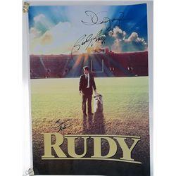 "Sean Astin, Rudy Ruettiger, David Anspaugh Signed ""Rudy"" 13x17 Photo"