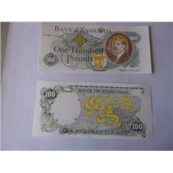 """Prop Set of Two """"Coming To America"""" Bank of Zamunda Currency Bills"""
