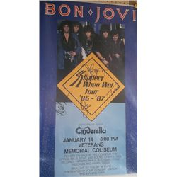 """""""Bon Jovi Slippery When When"""" Band Signed 12x16 Poster"""