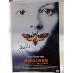 """Jodie Foster, Anthony Hopkins """"Silence of the Lambs"""" Signed 11x17 Poster GAI Certified"""