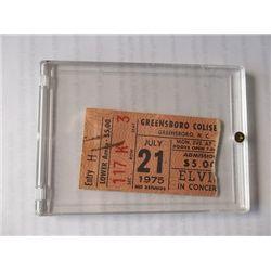 Elvis Presley Original 1975 Greensboro Concert Ticket Stub