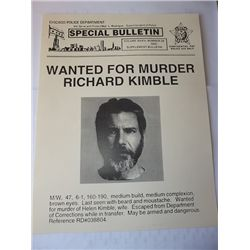 """Harrison Ford """"The Fugitive"""" Prop Wanted Poster"""