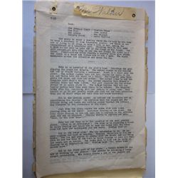 Oliver Hardy Rare Original Silent Film Script