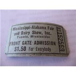 Elvis Presley 1955 Mississippi Concert Ticket
