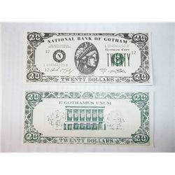 "Set of Two Twenty Dollar Prop Bills from ""Batman"" Films"