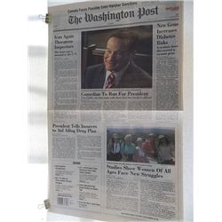 "Robin Williams ""Man of the Year"" Screen Used Prop Newspaper"