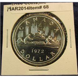 "68. 1972 ""Voyageur"" Canada Silver Prooflike Dollar. In 2"" x2""."