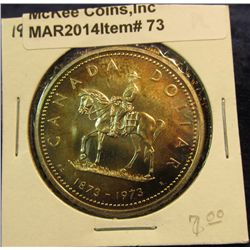 """73. 1973 """"Mounted Police"""" Canada Silver Prooflike Dollar. Toned. In 2"""" x2""""."""