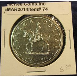 """74. 1973 """"Mounted Police"""" Canada Silver Prooflike Dollar. In 2"""" x2""""."""