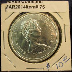 """75. 1874-1974 Winnipeg, Canada Silver Prooflike Dollar. In 2"""" x2""""."""