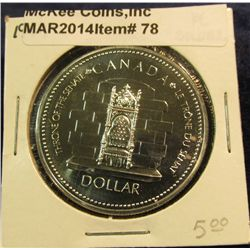 """78. 1952-1977 Throne of the Senate Canada Silver Prooflike Dollar. In 2"""" x2""""."""