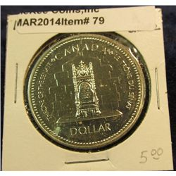 "79. 1978 XI Commonwealth Edmonton Games Canada Silver Prooflike Dollar. In 2"" x2""."